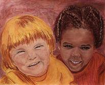 Malerei, Freunde, Pastellmalerei, Aquarell