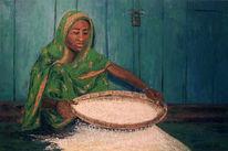 Figural, Malerei, Weizen, Reis