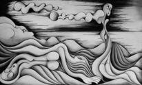 Malerei, Abstrakt, Tag, Meer
