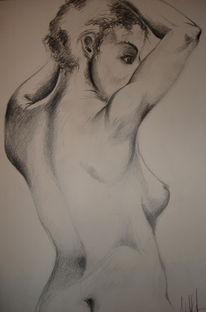 Akt, Zeichnung, Rücken, Frau