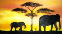Savanne, Elefant, Afrika, Malerei