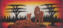 Massai, Marode, Malerei, Löwe