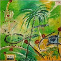 Malerei, Abstrakt, Palmen