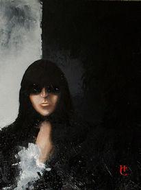 Frau, Figural, Dunkel, Malerei