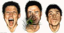 Grafik, Gesicht, Mann, Ausdruck