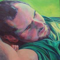 Mann, Schlaf, Grün, Malerei