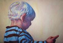 Junge, Abend, Sonne, Malerei