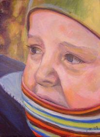 Eingemummelt, Kind, Winter, Malerei