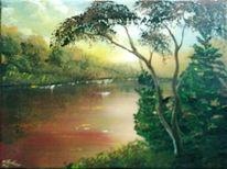 Fluss, Landschaft, Baum, Tanne