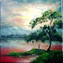 See, Berge, Malerei, Wasser