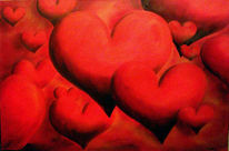 Liebe, Herzen, Malerei, Rot