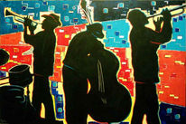 Malerei, Figural, Jazz, Trompeter