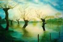 Niederrhein, Baum, Weiden, Malerei