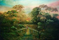 Romanze, Paar, Brücke, Malerei
