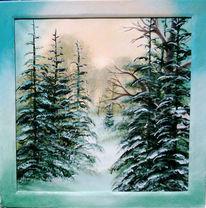 Wald, Landschaft, Malerei, Winter