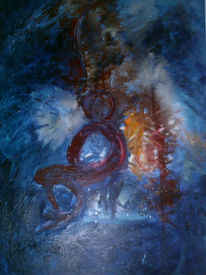 Abstrakt, Blau, Eengfe, Malerei