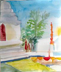 Mai, Reise, Skizze, Tempel