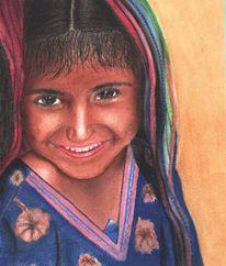 Indisch, Kind, Portrait, Mädchen