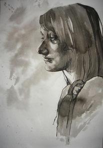 Profil, Portrait, Schwarz weiß, Tusche