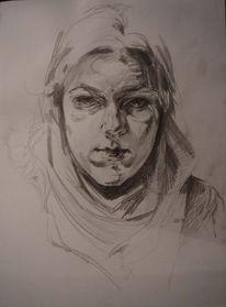 Schatten, Skizze, Bleistiftzeichnung, Portrait