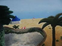 Strand, Urlaub, Palmen, Malerei