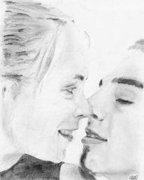 Portrait, Zeichnung, Zeichnungen, Kuss