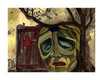 Frau, Baum, Einsamkeit, Tür