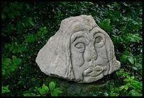 Skultur, Alte dame, Thüster kalkstein, Archaisch