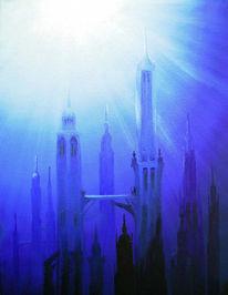 Stadt, Landschaft, Atlantis, Malerei