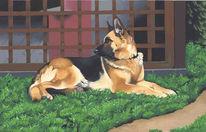 Tiere, Hund, Malerei, Freundin