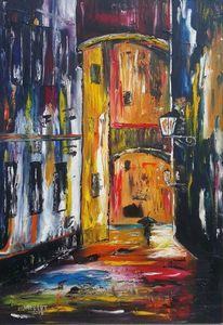 Beleuchtung, Gasse, Straße, Malerei