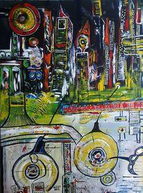 Großstadt, Schwingen, Stadt, Malerei