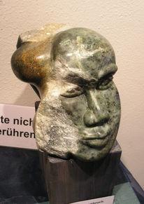 Skulptur, Speckstein, Kopf, Ausstellung
