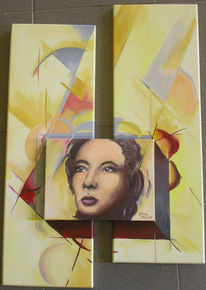 Gelb, Gesicht, Portrait, Acrylmalerei