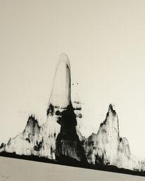 Berge, Silber, Schwarz weiß, Abstrakt
