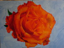 Acrylmalerei, Rose, Blau, Orange