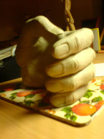 Figural, Hand, Plastik, Ton