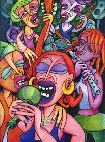 Surreal, Gruppe, Malerei, Schlagen