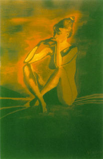 Malerei, Figural, Akt, Orange