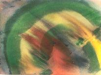 Malerei, Rot, Gelb, Grün