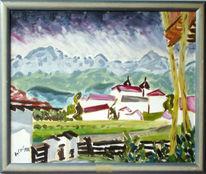 Landschaft, Malerei, Bergen, Kloster