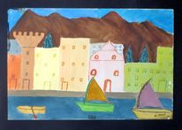 Malerei, Landschaft, Stadtlandschaft, Bergen