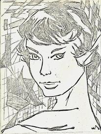 Zeichnungen, Hübsch, Portrait, Jung