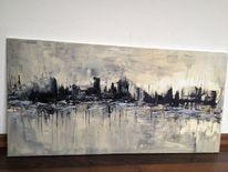 Acrylmalerei, Schwarz weiß, Grau, Stadt