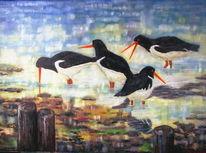 Watt, Licht, Austernfischer, Ölmalerei