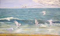 Vogel, Meer, Ölmalerei, Brandseeschwalben