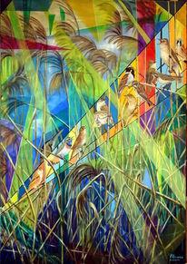 Vogel, Ölmalerei, Schilf, See