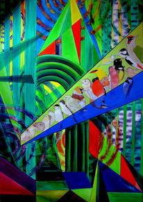Ölmalerei, Wald, Vogel, Orchester