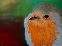 Tiere, Vogel, Ölmalerei, Rotkelchen