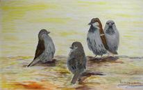 Vogel, Tiere, Spatz, Malerei